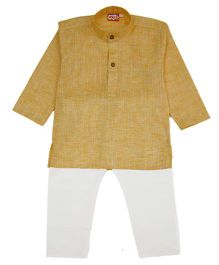 KID1 Solid Kurta & Pajama Set - Yellow