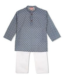 KID1 Printed Kurta & Pyjama Set - White & Blue