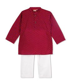 KID1 Printed Kurta & Pyjama Set - Pink Yellow