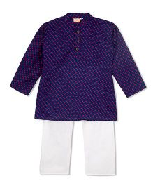 KID1 Printed Kurta & Pyjama Set - Navy Blue