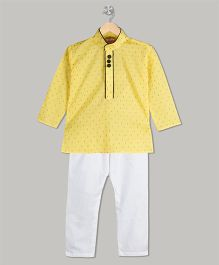 KID1 Tiny Print Kurta & Pyjama Set - Yellow