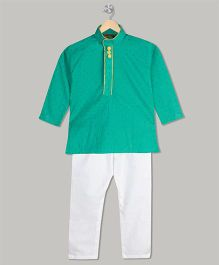 Kid1 Tiny Print Kurta & Pyjama Set - Green