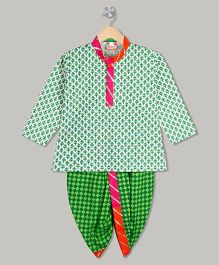 Kid1 Checks Dhoti & Kurta Set - Green