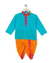 Kid1 Checks Dhoti & Kurta Set - Blue