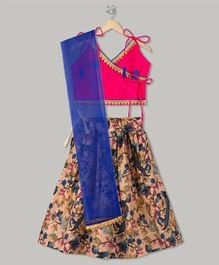Kid1 Floral Theme Lehenga & Choli Set - Pink