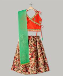 Kid1 Floral Theme Lehenga & Choli Set - Orange