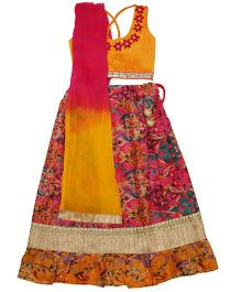 Kid1 All Over Print Lehenga & Choli Set - Yellow