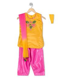 Kid1 Embroidered Kurta & Patiala Set - Yellow & Pink