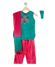 Kid1 Embroidered Kurta & Patiala Set - Green & Pink