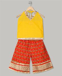 Kid1 Top & Palazzo Set - Yellow & Orange