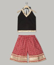 Kid1 Kurti & Palazzo Set - Black & Red