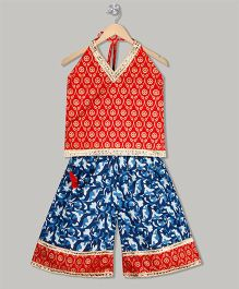 Kid1 Abstract Print Kurti & Palazzo Set - Red & Blue