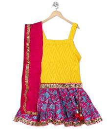 Kid1 Floral Lehenga With Strappy Choli - Yellow & Pink