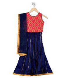 Kid1 Designer Lehenga & Choli Set - Peach & Navy Blue