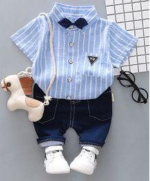 Pre Order - Dells World Striped Collar Shirt & Shorts Set - Blue