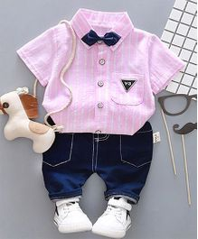 Pre Order - Dells World Striped Collar Tee & Shorts Set - Pink & Blue