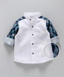Knotty Kids Contrast Design Sleeves Shirt - White