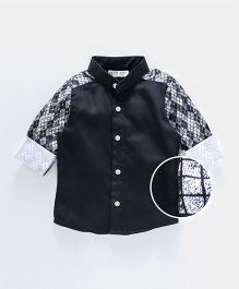 Knotty Kids Contrast Design Sleeves Shirt - Black