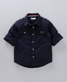 Babyoye Full Sleeves Solid Shirt - Navy Blue
