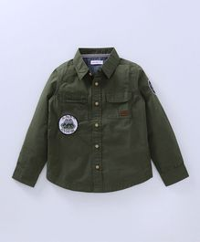 Babyoye Full Sleeves Solid Cargo Shirt - Green