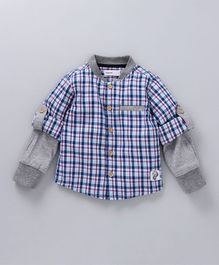 Babyoye Full Sleeves Check Shirt - Blue Pink