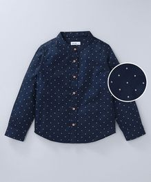Babyoye Full Sleeves Printed Party Shirt - Navy