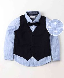 Babyoye Printed Chambray Party Shirt With Bow & Jacket - Sky Blue