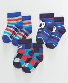 Mustang Ankle Length Striped Socks Pack of 3 - Blue