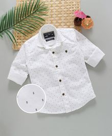 Jash Kids Full Sleeves Printed Shirt  - White