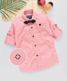 Jash Kids Full Sleeves Printed Party Wear Shirt With Bow - Pink
