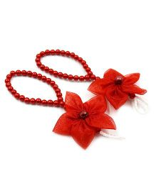 Magic Needles Barefoot Sandals 5 Petal Flower - Red