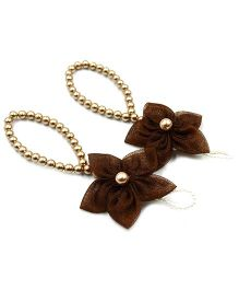 Magic Needles Barefoot Sandals 5 Petal Flower - Brown