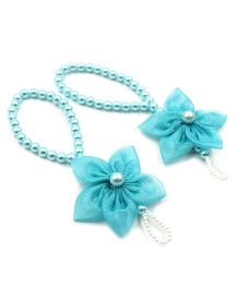 Magic Needles Barefoot Sandals 5 Petal Flower - Light Blue