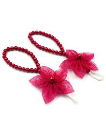 Magic Needles Barefoot Sandals 5 Petal Flower - Dark Pink