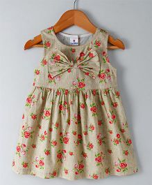 Child World Sleeveless Floral Print Frock - Beige