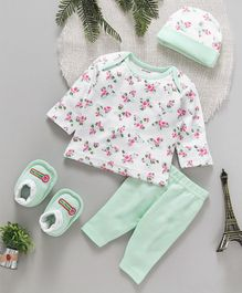 ToffyHouse 4 Piece Clothing Set Floral Print - Sea Green