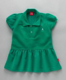 Wow Girl Cap Sleeves Collar Neck Tennis Frock - Green