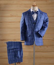 Jeet Ethnics Checks Coat Suit Set - Blue
