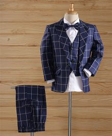 Jeet Ethnics Checks Coat Suit Set - Navy Blue