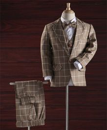 Jeet Ethnics Checks Coat Suit Set - Brown