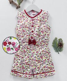 Babyhug Sleeveless Floral Jumpsuit Bow Applique - White Red
