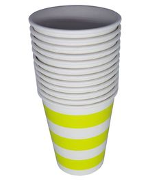 Funcart Paper Cups Stripe Print Yellow Pack of 12 - 250 ml