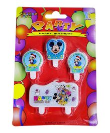 Funcart Mickey Mouse Themed Cake Topper Birthday Candles Pack of 4 - Blue