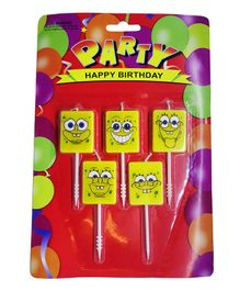 Funcart Spongebob Themed Cake Topper Birthday Candles Pack of 5 - Yellow
