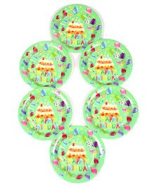 Funcart Frolic Birthday Theme Disposable Paper Plates Green - Pack Of 6