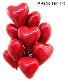 Funcart Heart Shaped Balloons Red - Pack Of 10