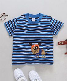 Baby Yi Dog Applique Striped Tee - Blue