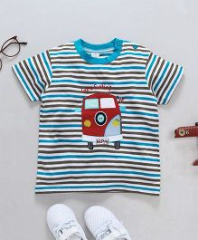 Baby Yi Bus Applique Striped Tee - Blue
