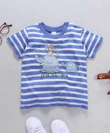 Baby Yi Elephant Applique Striped Tee - Blue