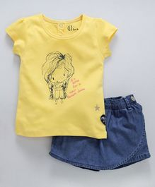 Gini & Jony Short Sleeves Girl Print Top With Denim Scotch - Yellow Blue